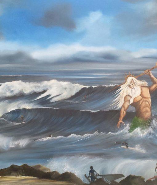 SurfArt Origineel Schilderij Neptune