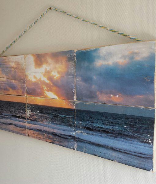 Kunst op hout - SurfArt North sea sunset