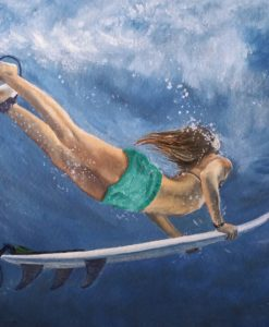 SurfArt painting Duck dive blue