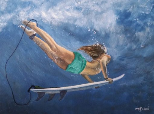 SurfArt painting Duck dive blue